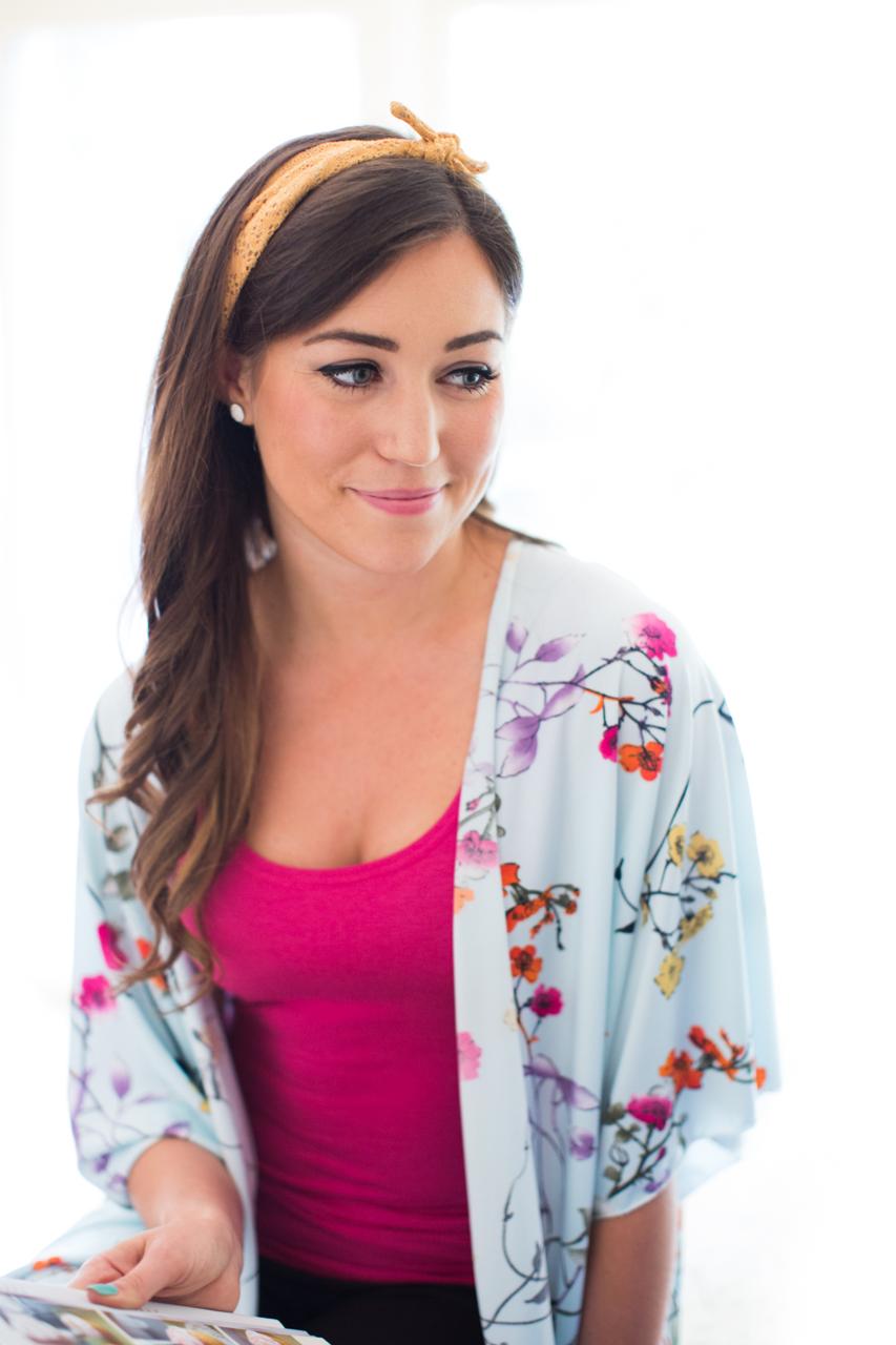 Victoria is wearing Buttercream's   Cupcake Tank Top  ,  Kimono  , and   Vintage Tied Headband.