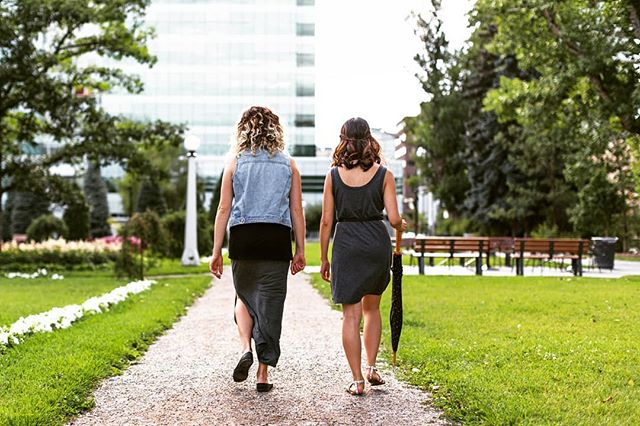 Strollin' with friends instead of scrollin' through phones. 👭📵 . Outfits:. Shelby - vintage from mom denim + @frontandcompany pieces. . Teagan - #madeinusa dress + vintage from mom belt. . . . . . #yyc #consciousliving #ethicalfashion #ethicalshopping #yycblogger #yycsummer #shopyvr #shopyyc #madeinusa #consignmentshopping