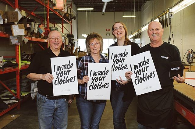 This is some of the team at @sevaen_workwear, the producers of the Climate Technical Gear used in @fairechild's products - a company we recently featured on our blog (link in bio!). It's pretty dang fabulous that @fairechild is able to be proudly transparent about how their clothes are made, and it brightens our day to see people working in the garment industry proudly sharing that they made our clothes. If all of us keep supporting this kind of standard for transparency in the fashion industry, we hope to one day see smiling faces like this on every garment worker across the globe! . . . . . #whomademyclothes #imadeyourclothes #fashrev #fashionrevolution #madeincanada #sustainablymade #runwildmychild #childhoodunplugged #littlefierceones #wanderfolk #novascotia
