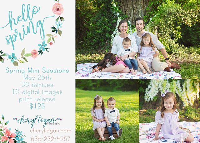 Spring will be coming to a close soon! These are the perfect sessions for family or just the kids! Let's get those portraits done before it's too hot.