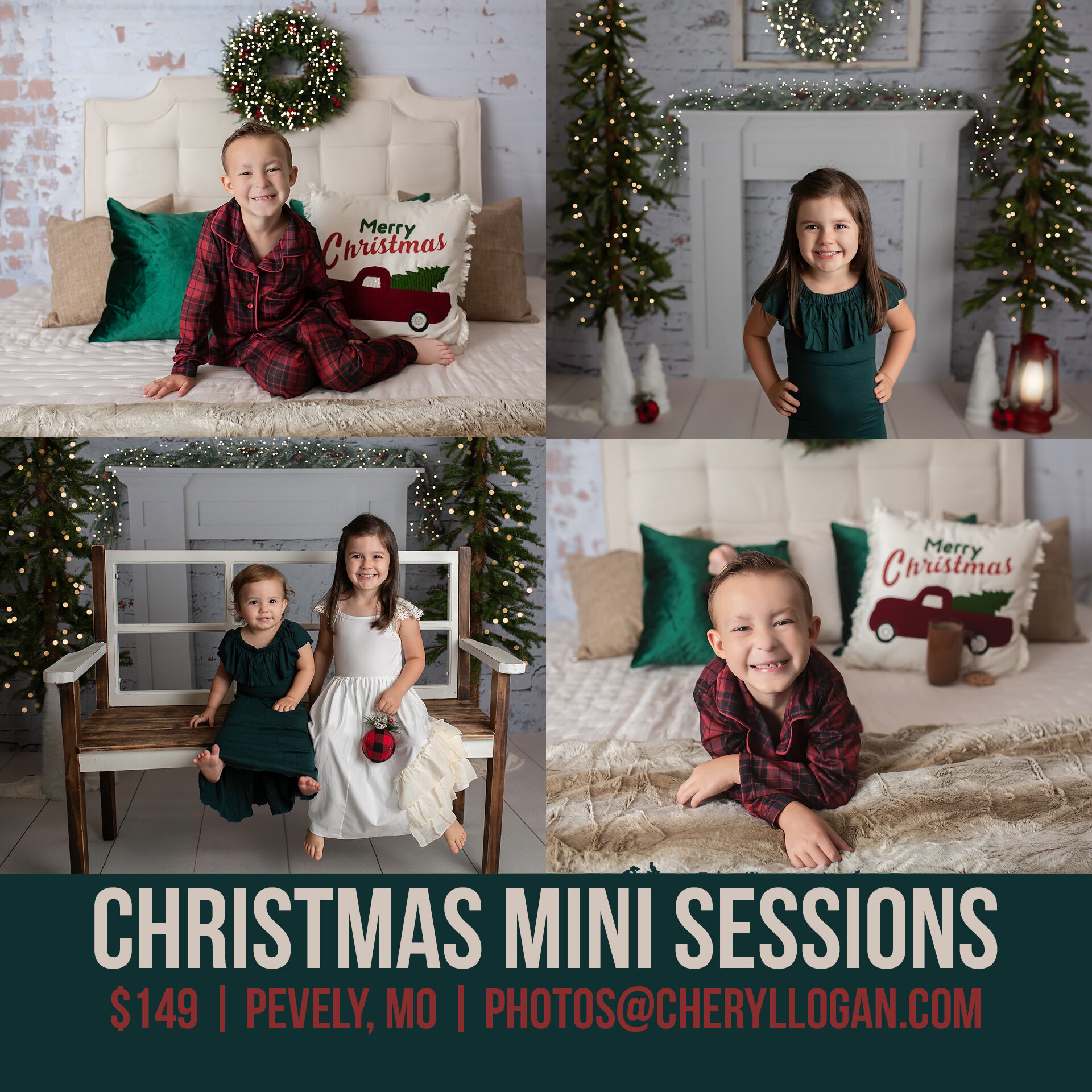 Christmas Mini Session - Christmas Mini Sessions are perfect for the whole family! The large 8x10 backdrops can accommodate a family of 4-5 people. These are a great option for Christmas Cards! They are available in November & December.