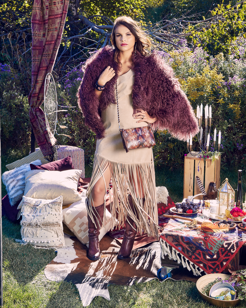 BURGUNDY MONGOLIAN LAMB CAPE $795.00    BONE LONG SUEDE DRESS WITH FRINGE $1,100  PAINTED PYTHON POSSIBLE BAG (MAHOGANY) $695  ROCK'N GEM WIDE LEATHER CUFF $155  STAR OF LOVE & HOPE ROSE DIAMOND RING $4, 500    ALL CUSTOM MADE-TO-ORDER