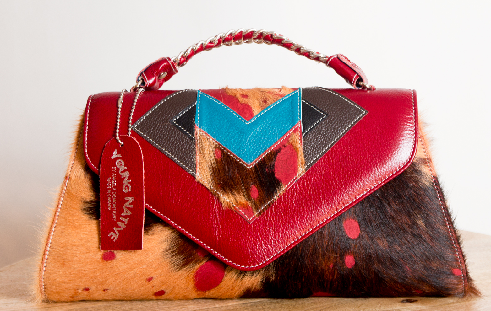 4 Elements Clutch - Safari/Red/Turquoise