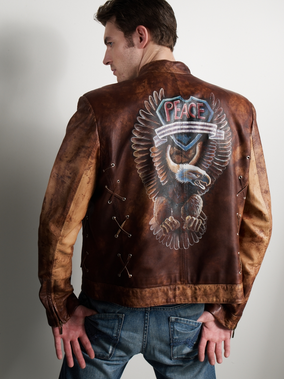 HAND PAINTED EAGLE MOTO JACKET   Made in Italian lambskin - One only, Size 42 - Customized versions made to order.     *Custom Order Only