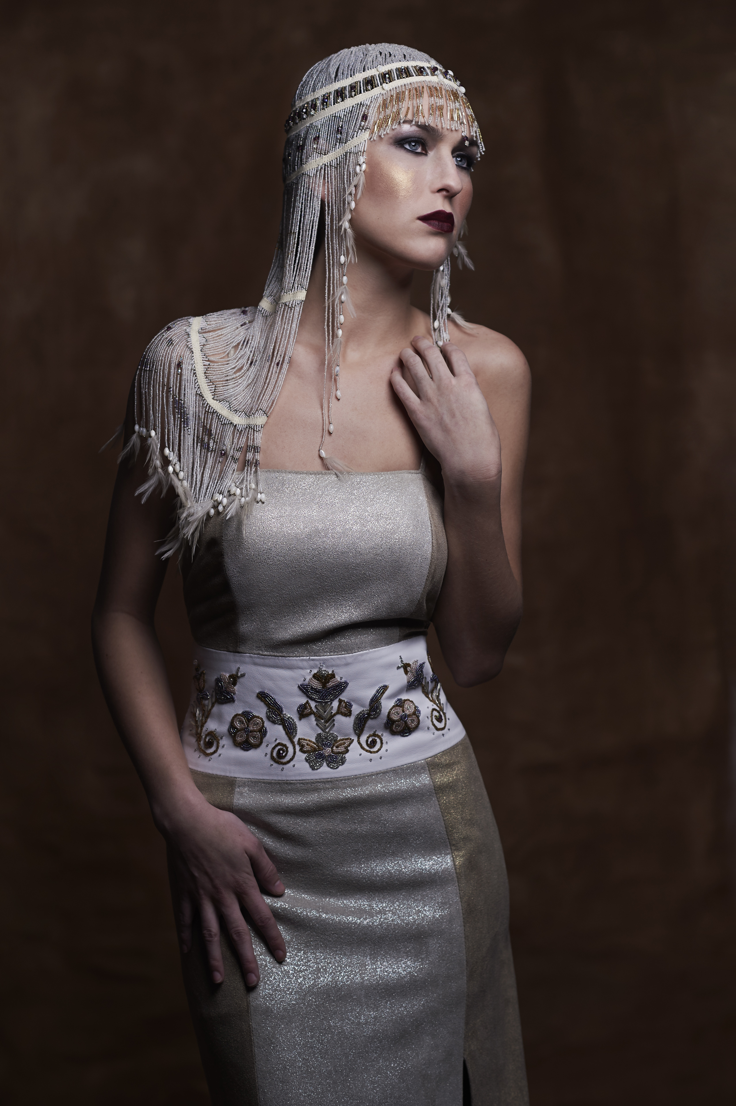 HAND BEADED HEADPIECE - DeMontigny Couture with Silver/Gold Italian suede wedding dress with hand beaded, Woodland floral design by DeMontigny Couture. Price available upon request.    PHOTO BY MARTA HEWSON FOR URBANICITY MAGAZINE - APRIL 2016 ISSUE