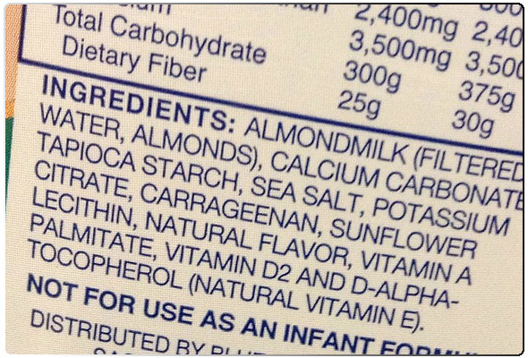 Ingredient list from a leading grocery almond milk brand