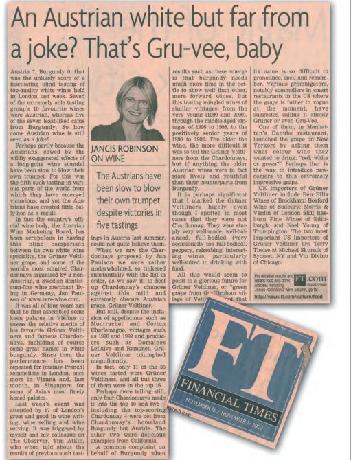 Jancis Robinson FT artcile Austrian wine article 2002