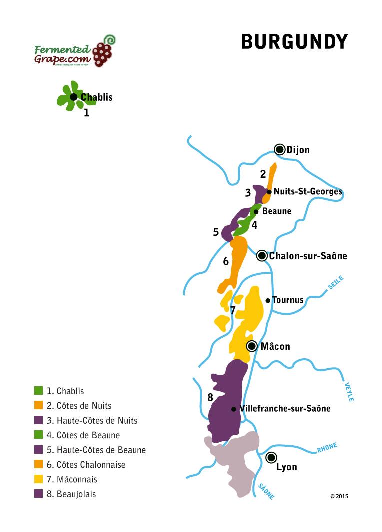 Burgundy wine map by fermentedgrape.com