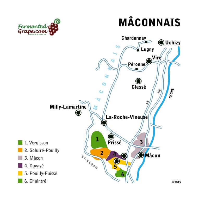Mâconnais wine map by fermentedgrape.com