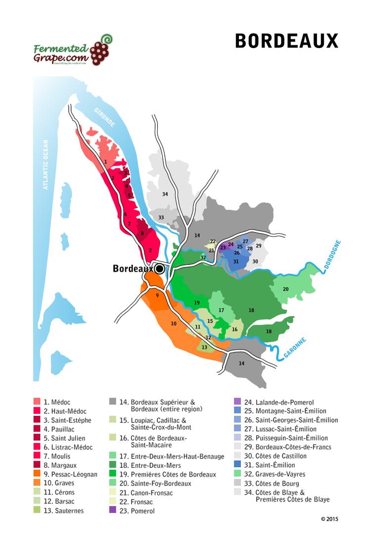 Bordeaux Wine Map by FermentedGrape.com