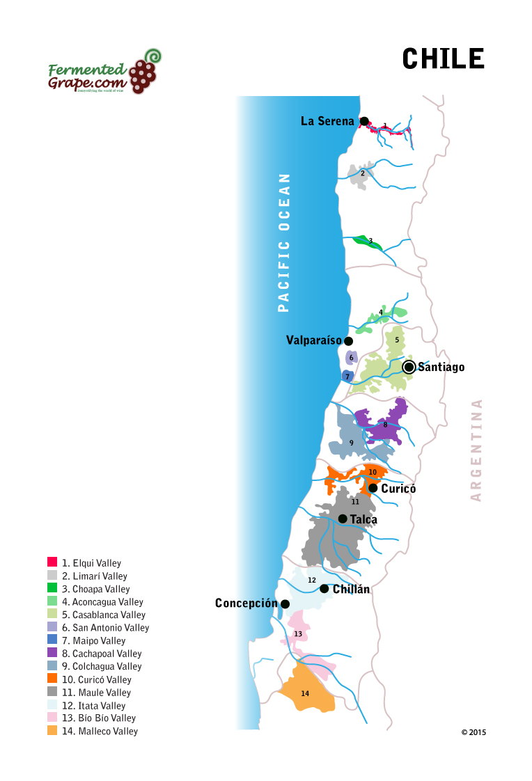 Chilean Wine Map by Fermentedgrape.com