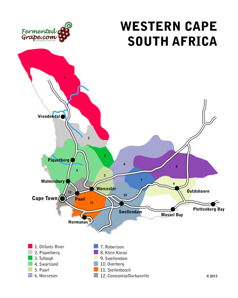 SouthAfrica western cape wine map by fermentedgrape.com