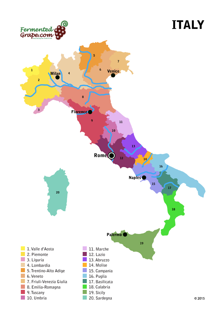 Italy wine map by fermentedgrape.com