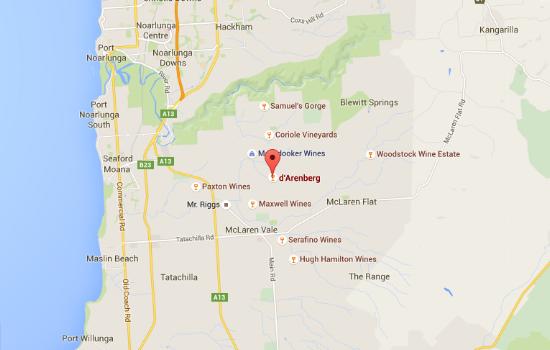 d'Arenberg map location McLaren Vale australia