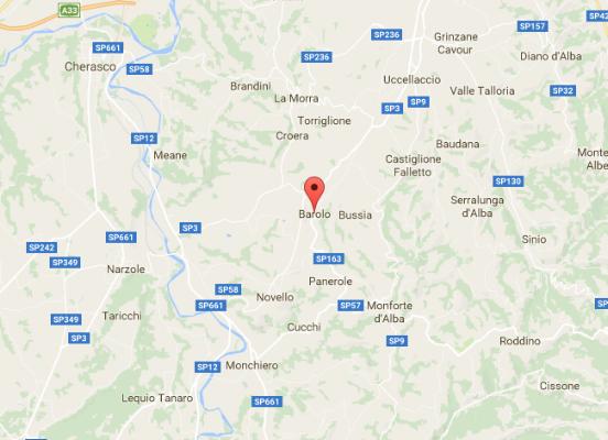 Location of Barolo wine region