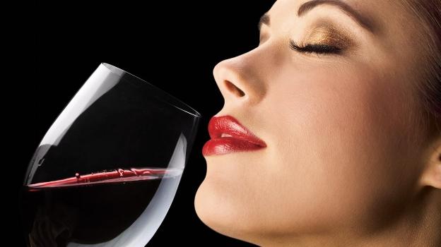 Femme Fatale beautiful lady drinking wine