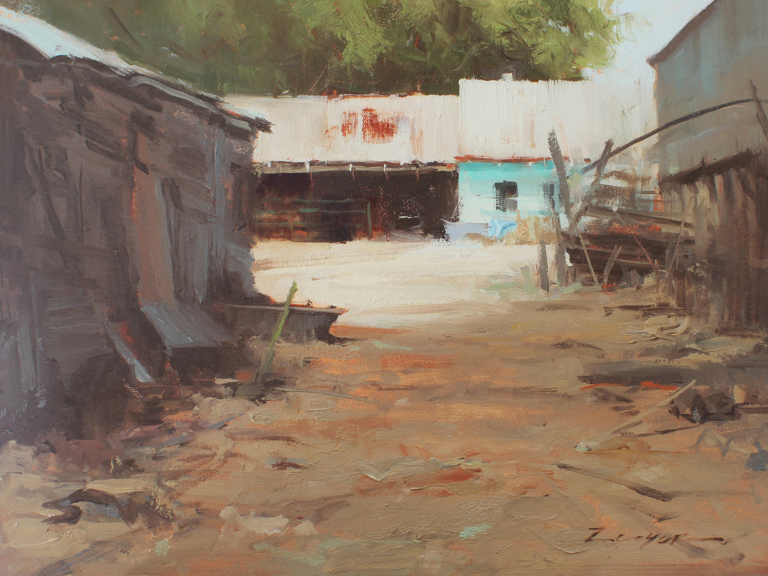"""Backyard Alley"" 12x16 Available at the Wilcox Gallery, Jackson, WY"