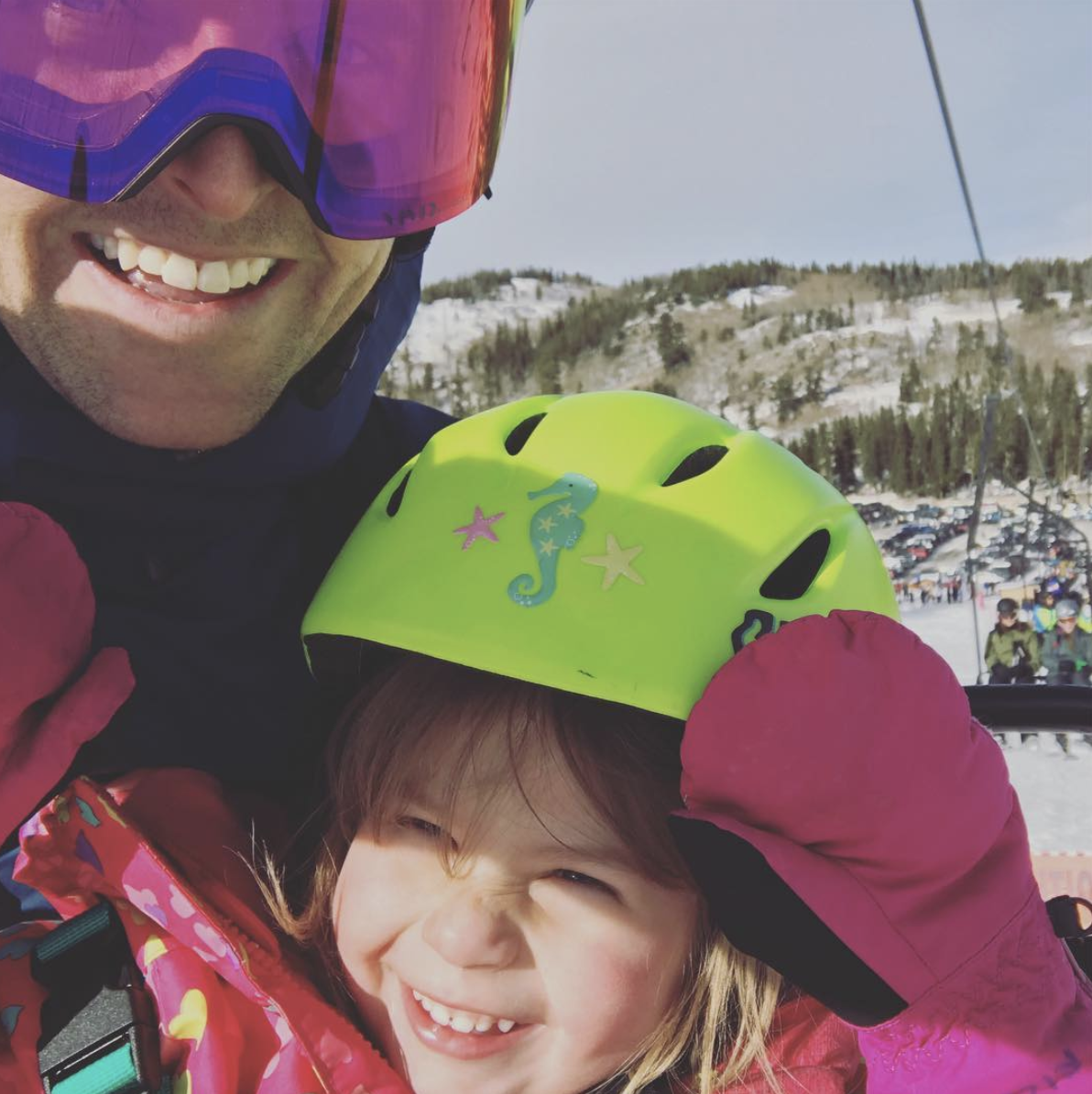 When I'm not at work, I'm outside. Here's a picture of my youngest daughter, Naomi, showing me around the mountain, refusing to wear her goggles.