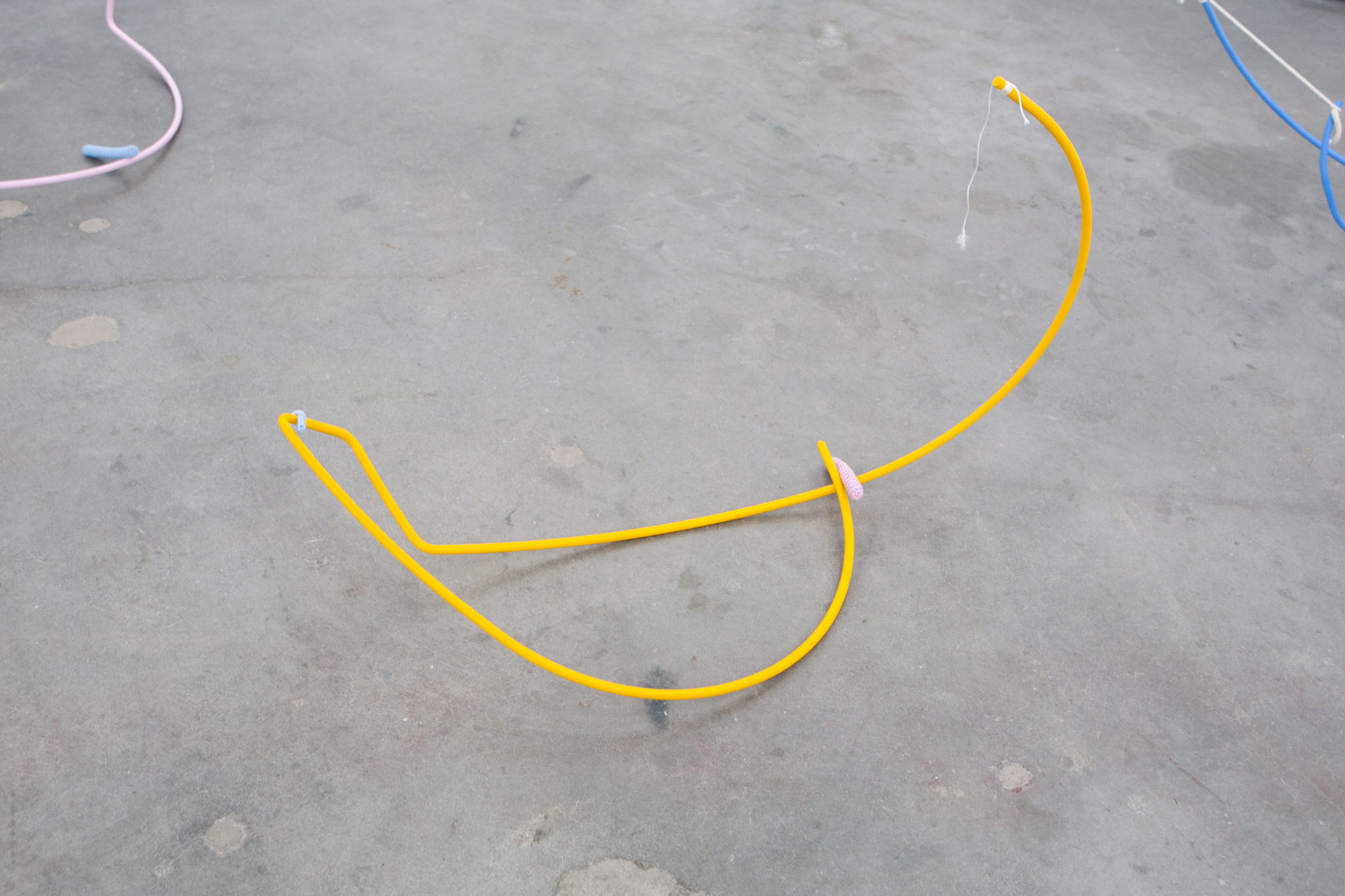 Untitled (Judy) , 2019  Painted steel, string and yarn