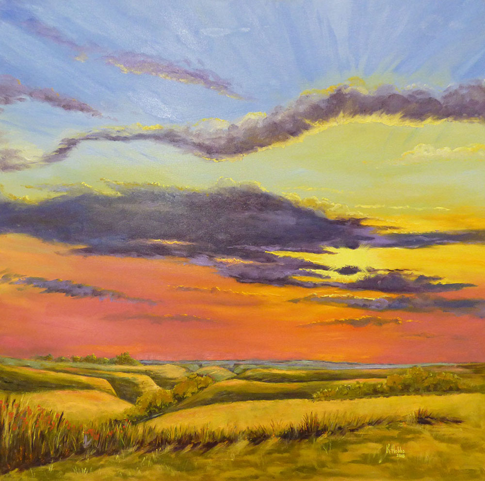 This flint hills sunrise painting could be a beautiful surprise for a loved one.