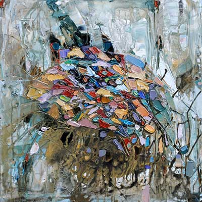 This is another piece by Maya Eventov. Her abstracts in comparison to the birch pieces, shows the diversity that is possible with palette knife painting.