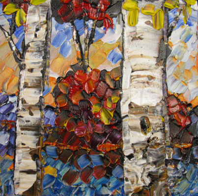 Maya Eventov is a Prairiebrooke artist who paints exclusively with palette knives. She is well-known for her birch tree pieces.