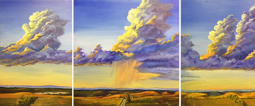 SOLD Prairie Thunder Tryptich (16-24214)