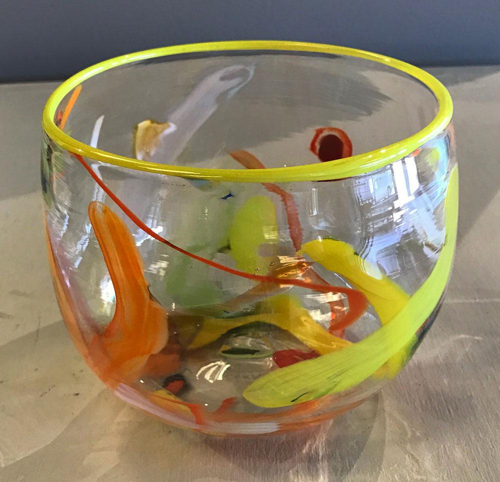 (SOLD) Bowl Circus Orange and Yellow (17-24402)