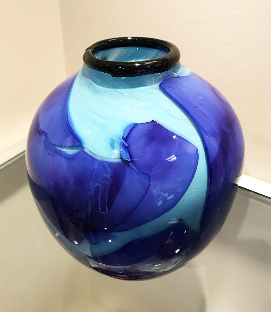 Whimsy Vase, blue shards over turquoise (17-24639)