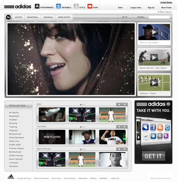 The homepage was designed to get the user immediately immersed in highly enjoyable video content. With a CMS that allows the designation of videos to one of the featured areas at the top of the page, as well as a large, on-page and above-the-fold video player, adidas is able to put their best foot forward with each new visitor.