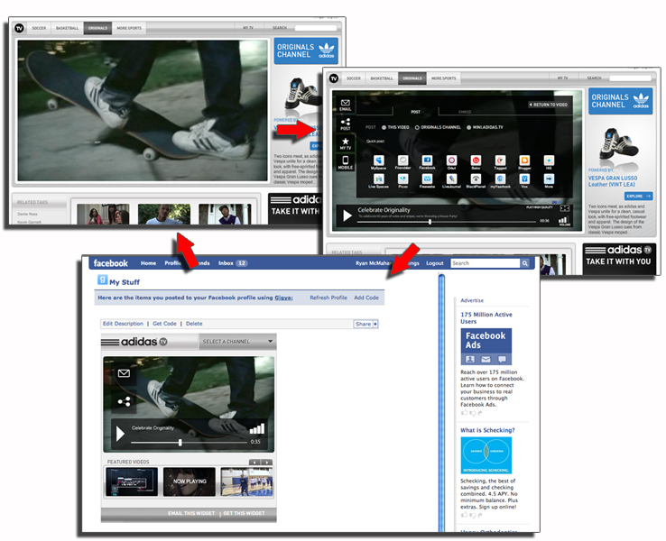 While widgets can be cloned right from their location, the user can also be taken to adidas.TV.