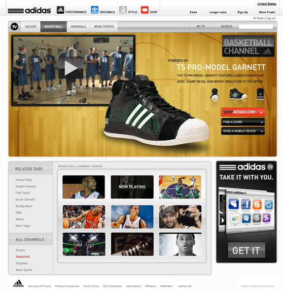 Commerce through content is the big message here. Each video in the system is paired with a related product allowing the user to interact with the product as well as link off to the online store, a product website, or even send it to their mobile device.