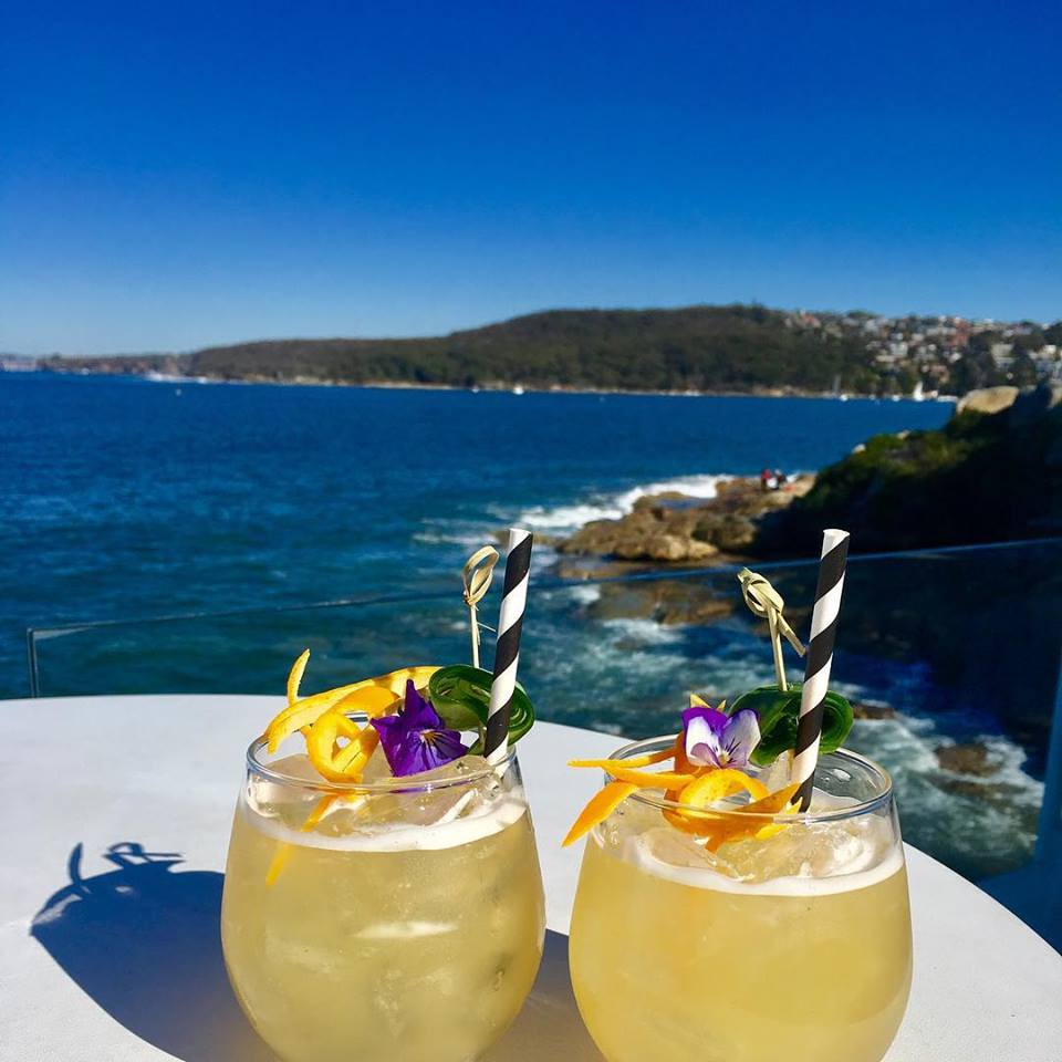 The harbour view with cocktails at Manly Bistro