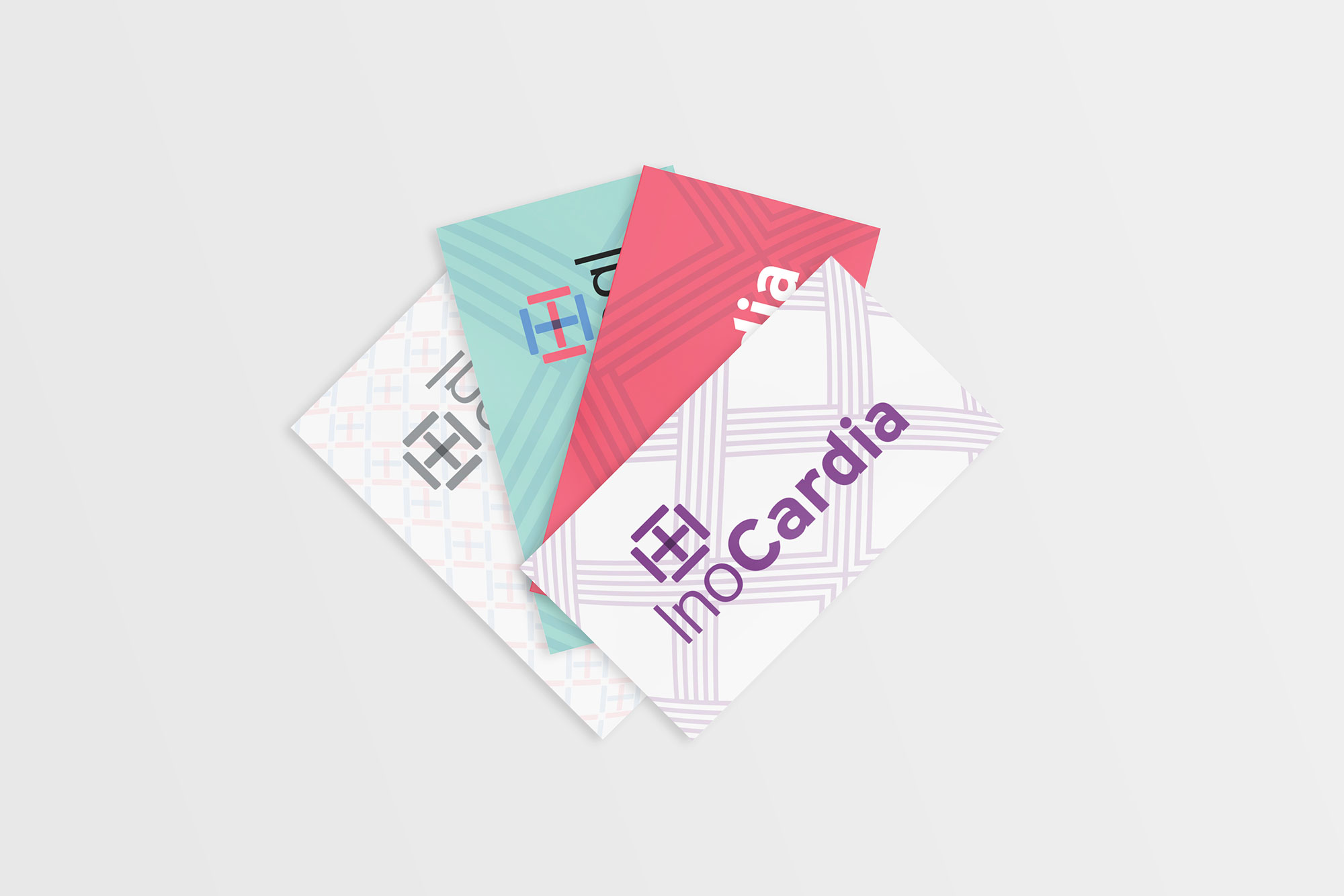 Stationary for InoCardia Limited, brand identity, branding, business cards design by Martin Sully