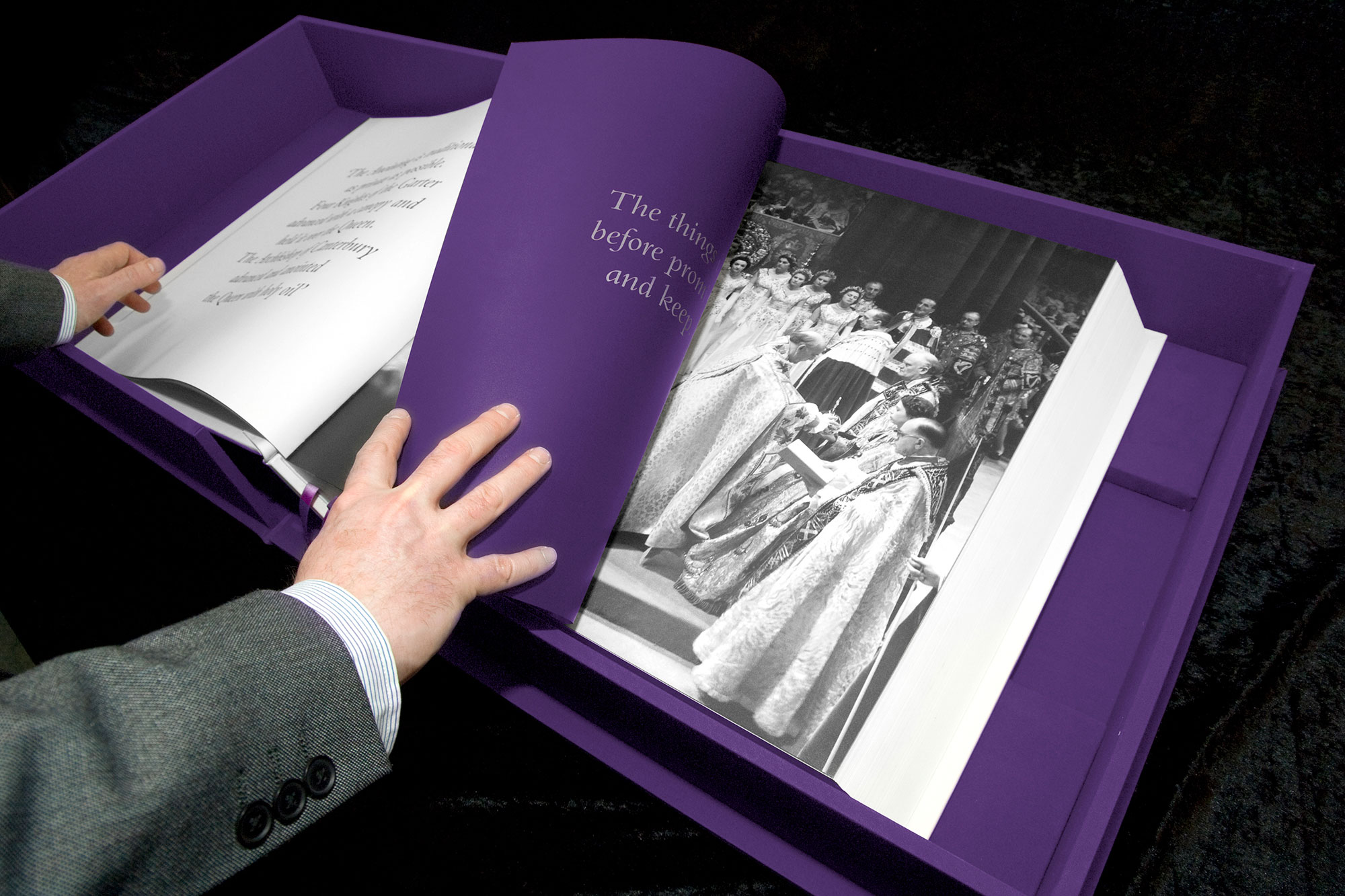 Part of a chapter about the Coronation. Book design by Martin Sully.