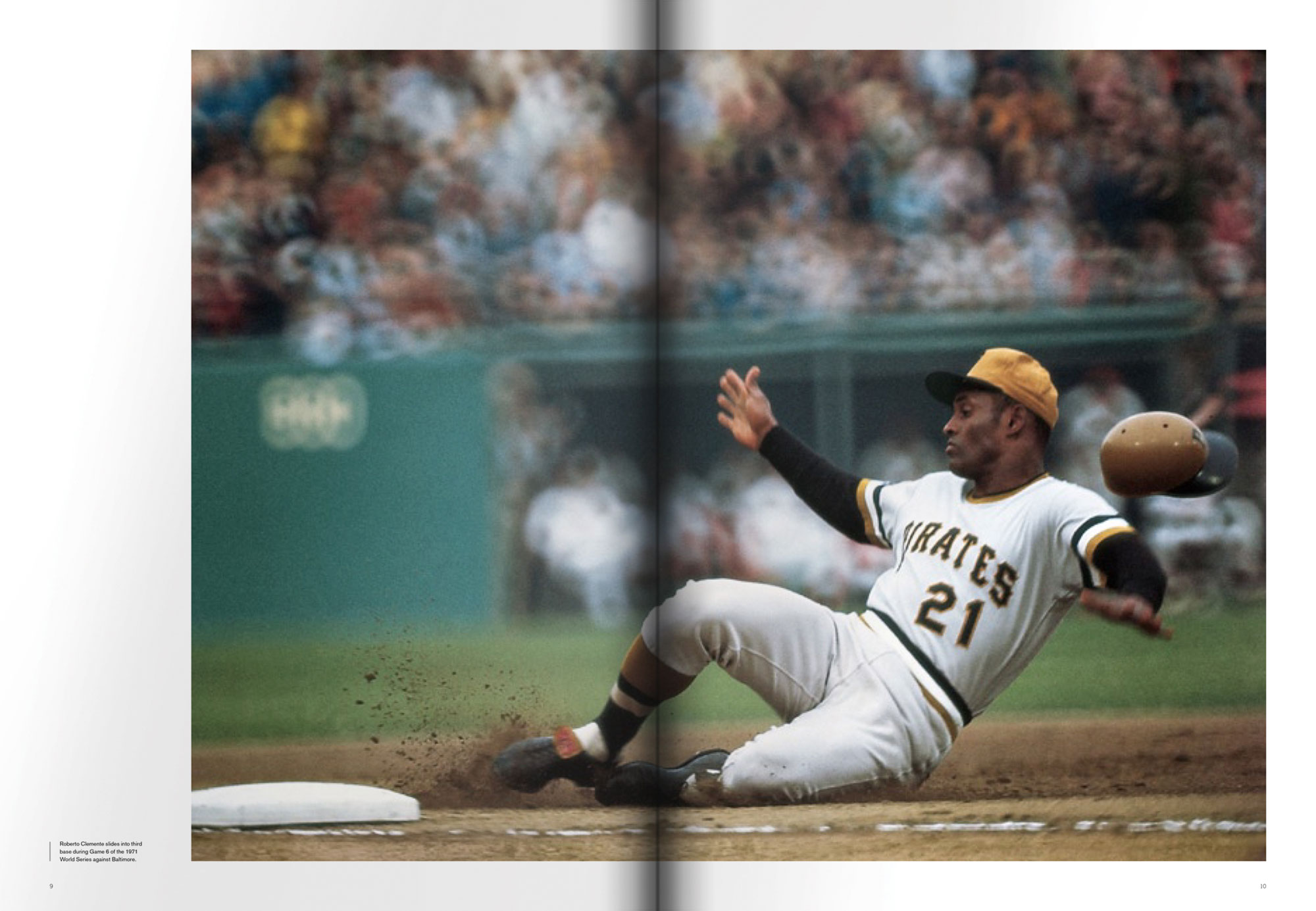 Roberto Clemente sliding into base