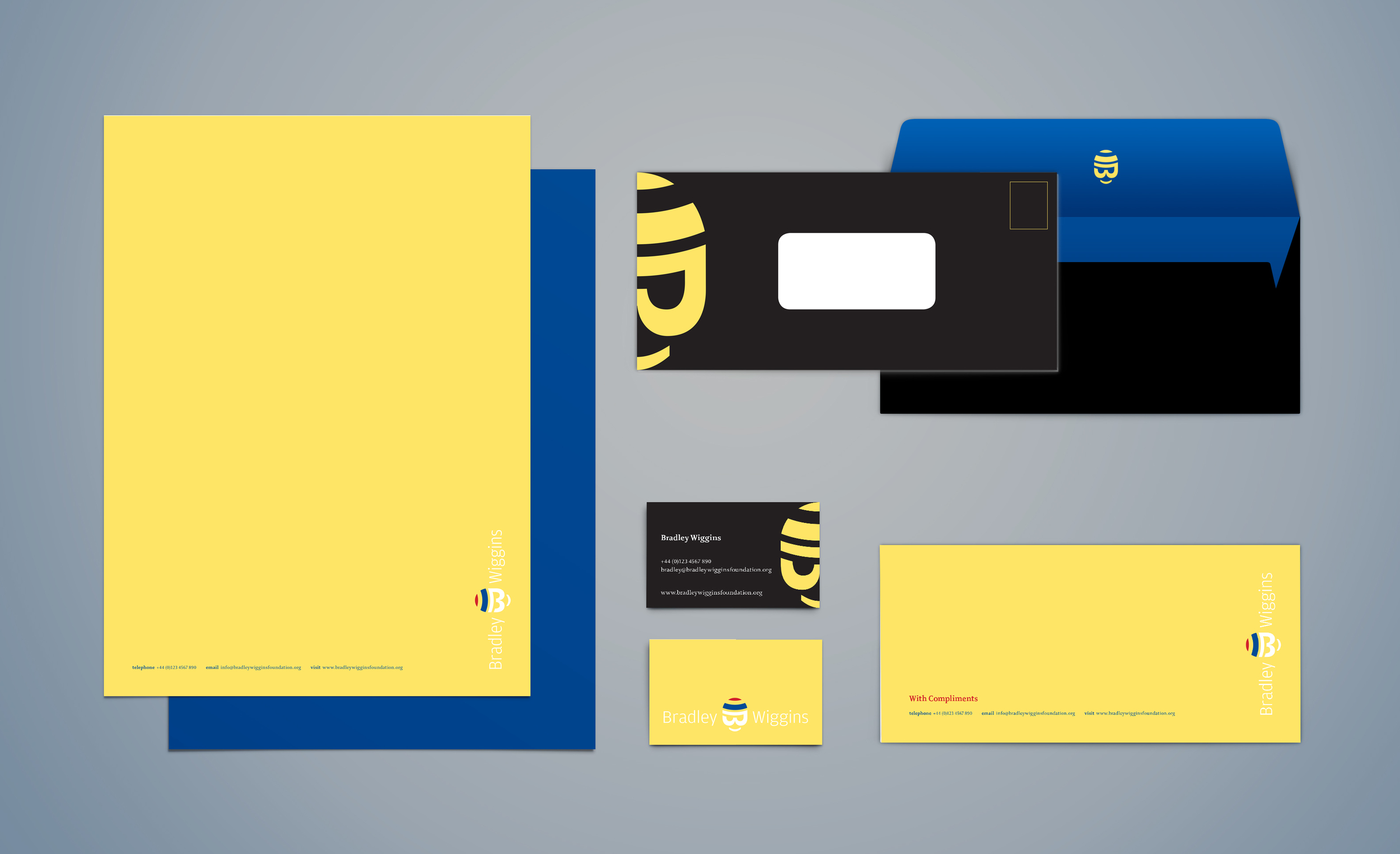 Bradley Wiggins branded stationary, including A4 letterhead, business cards, compliment slip and envelopes.