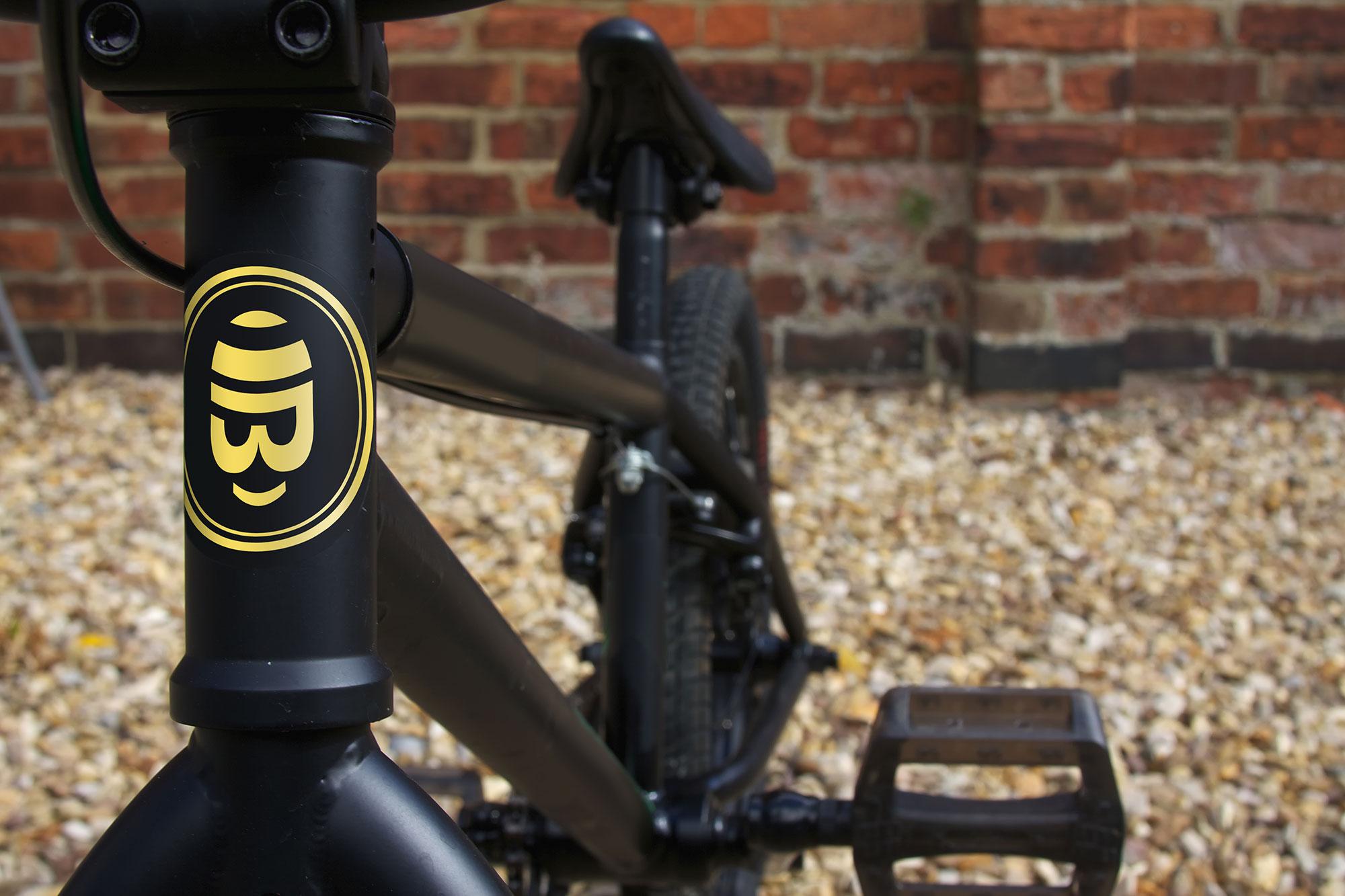 Bradley Wiggins bike stickers - brand identity design by Martin Sully