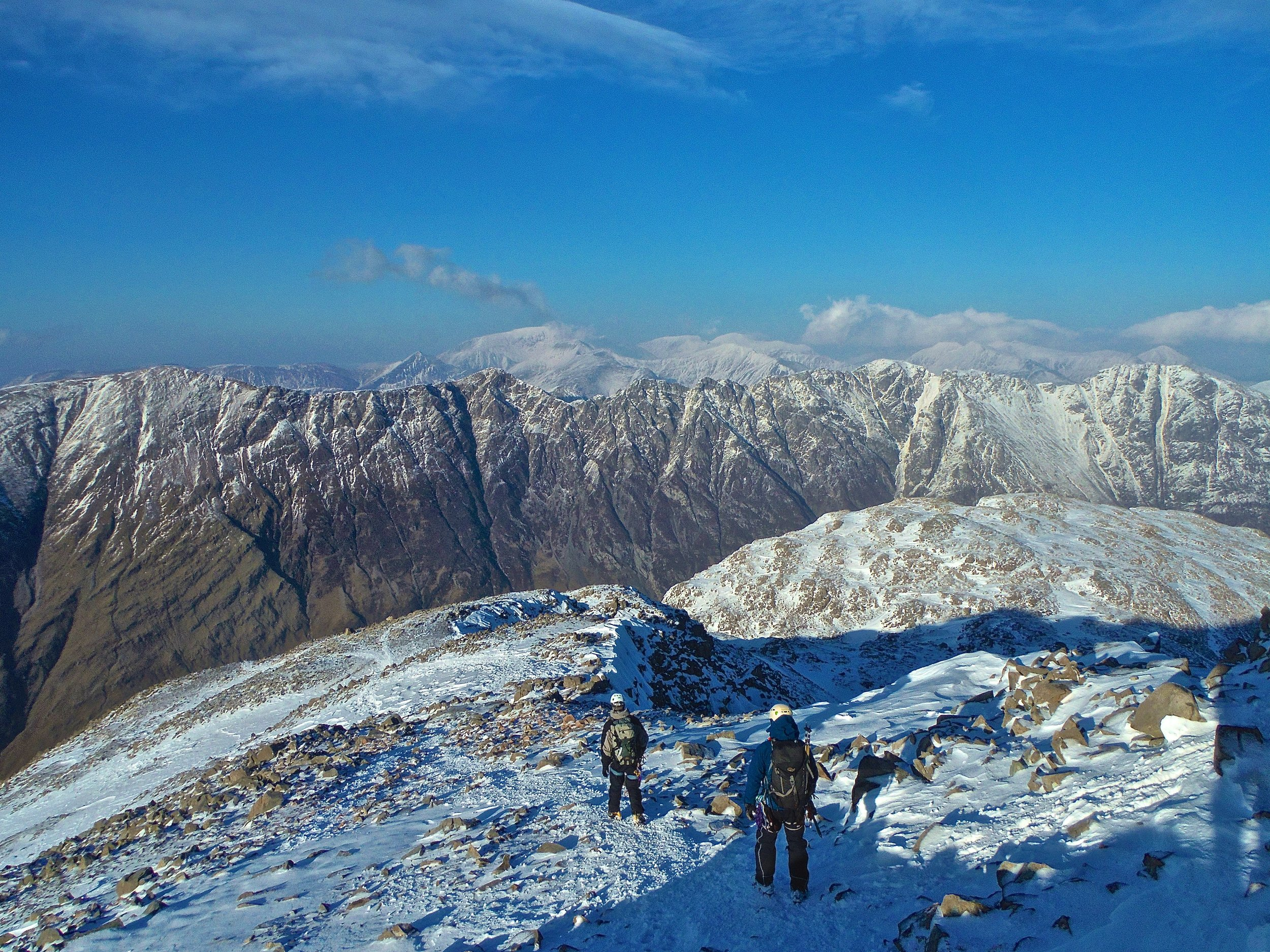 Wintery perfection - The Aonach Eagach Ridge on the sky line