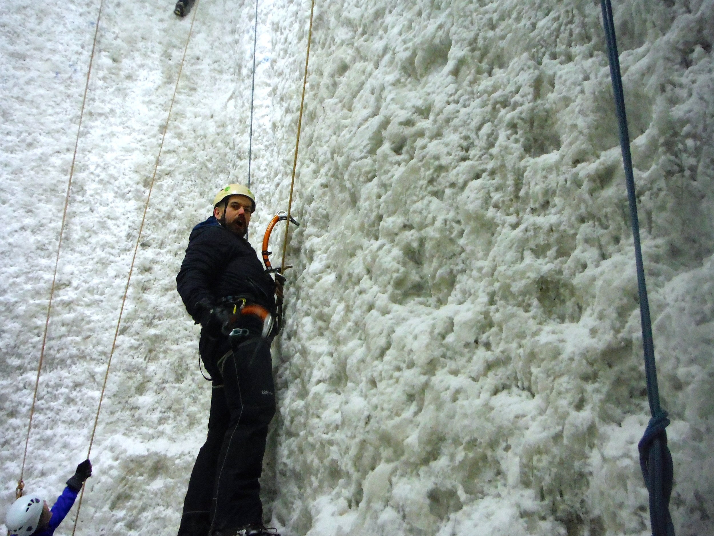 Chris getting used to his Petzl Quark ice axes