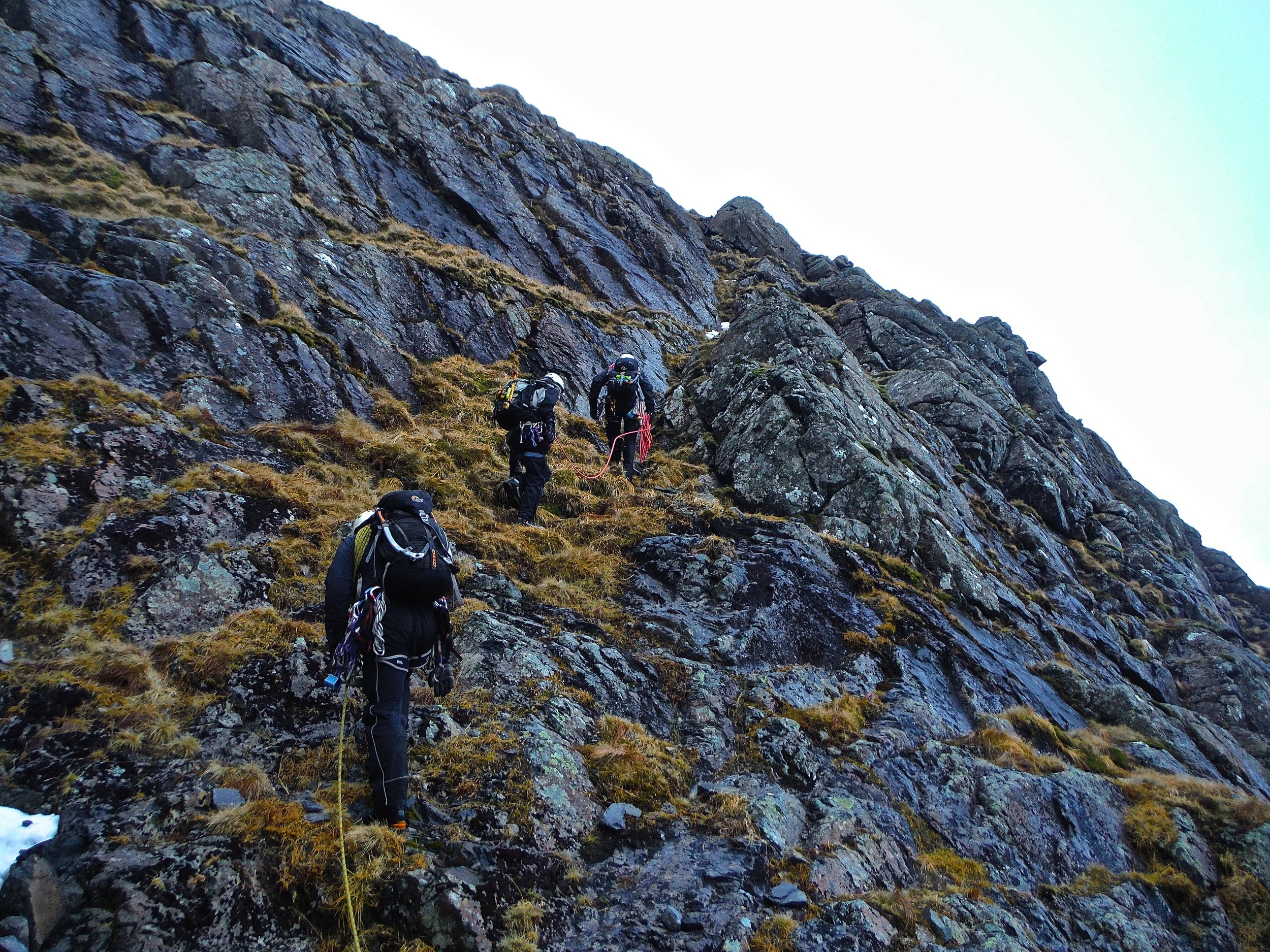 Approaching the start of Castle Ridge a winter grade 3 route in somewhat summery conditions