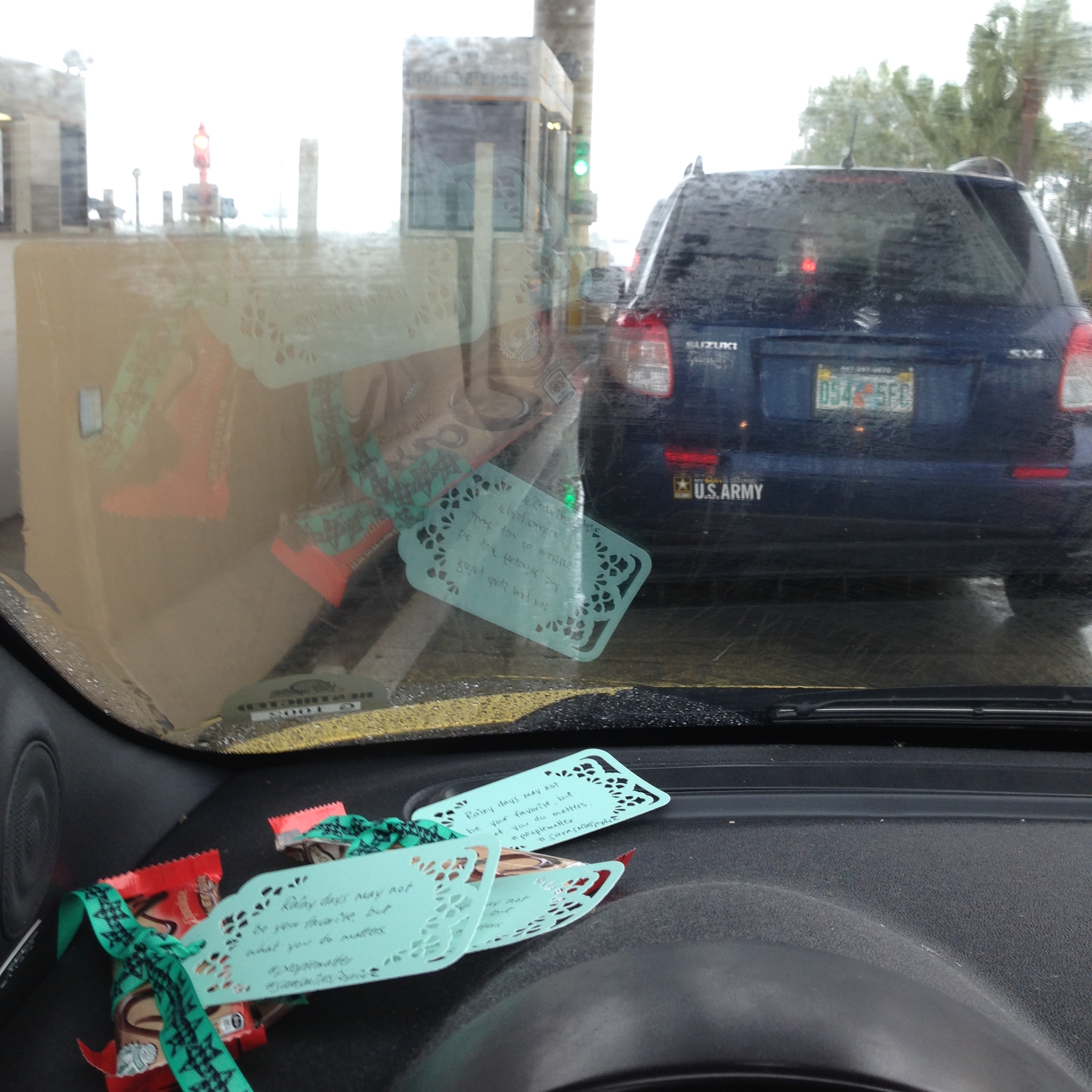 Candy bars for toll collectors on 417