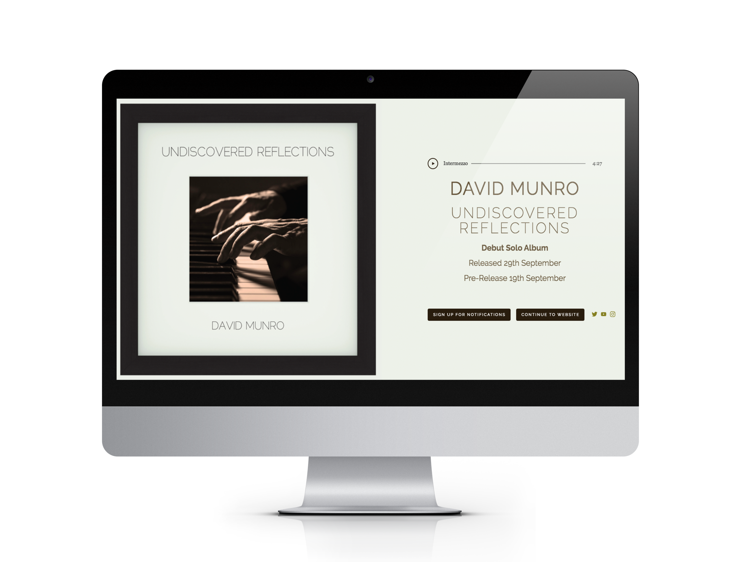 Website for Composer, Pianist and Musical Director David Munro, launching his debut solo album.