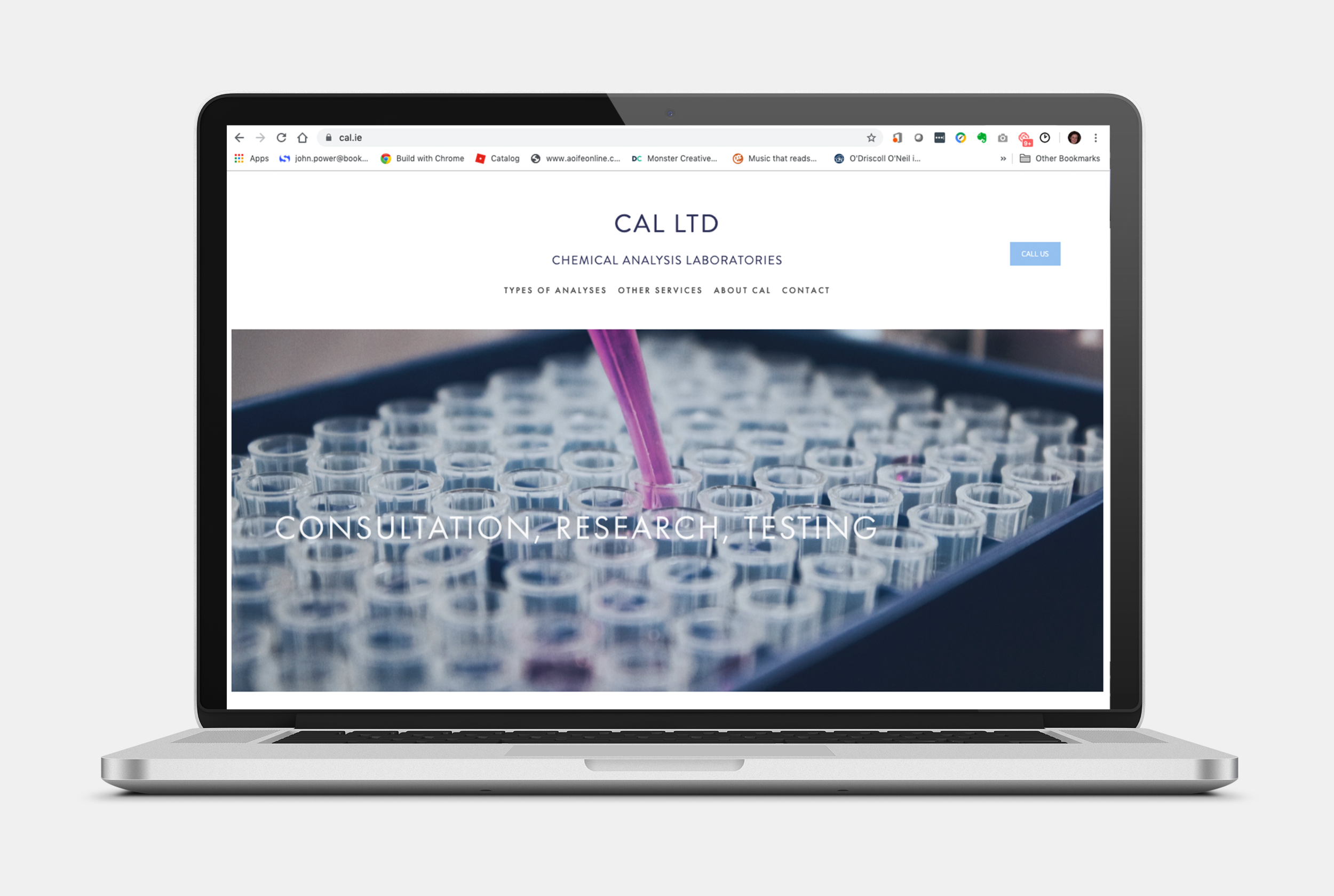 CAL is one of Ireland's leading chemical analyses laboratories, based in Sandycove, Co Dublin. They contacted me because they had a very old and dated website that needed a design and UX makeover and which they can now easily edit themselves.