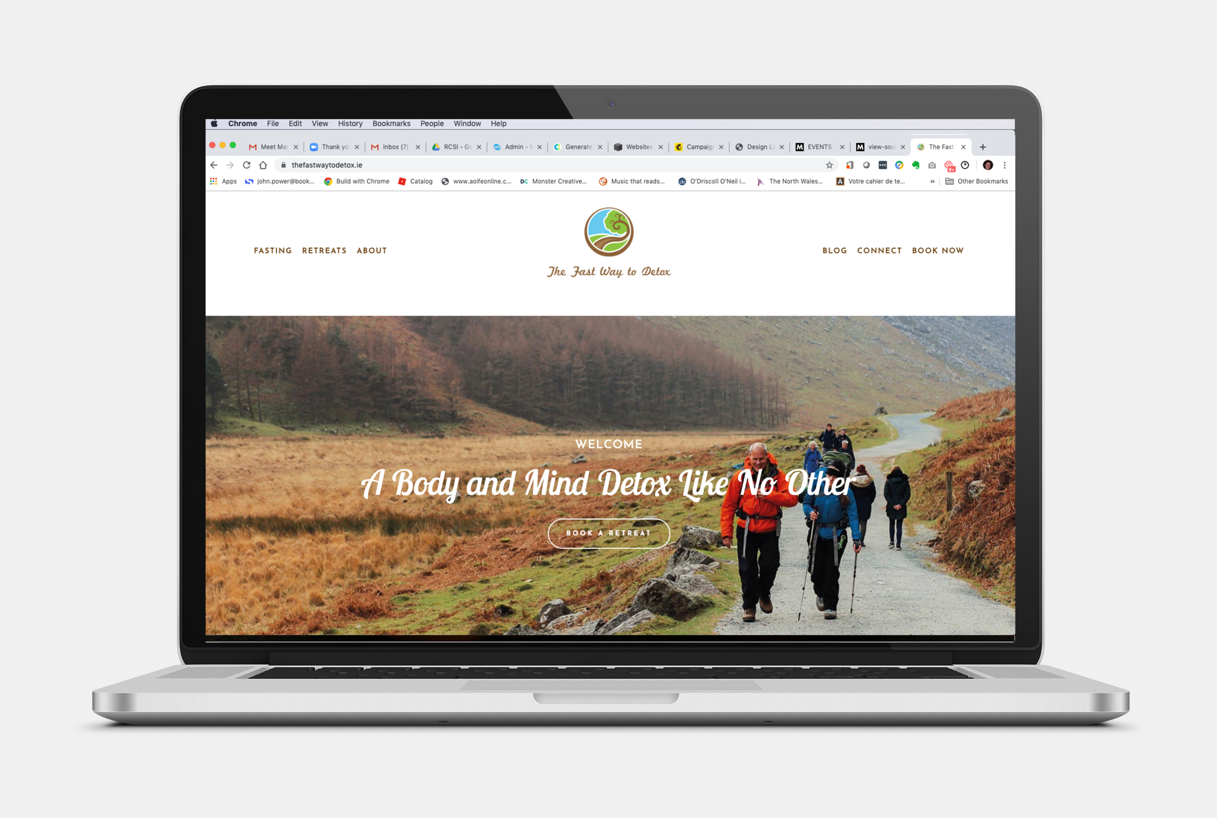 """The Fast Way to Detox - this started out as a site audit for an existing site that my client had done herself on Wix. We agreed to start again instead of trying to """"fix the Wix"""" and the result uses good copy and beautiful images to successfully sell Corinne's Fasting Retreats in Ireland."""