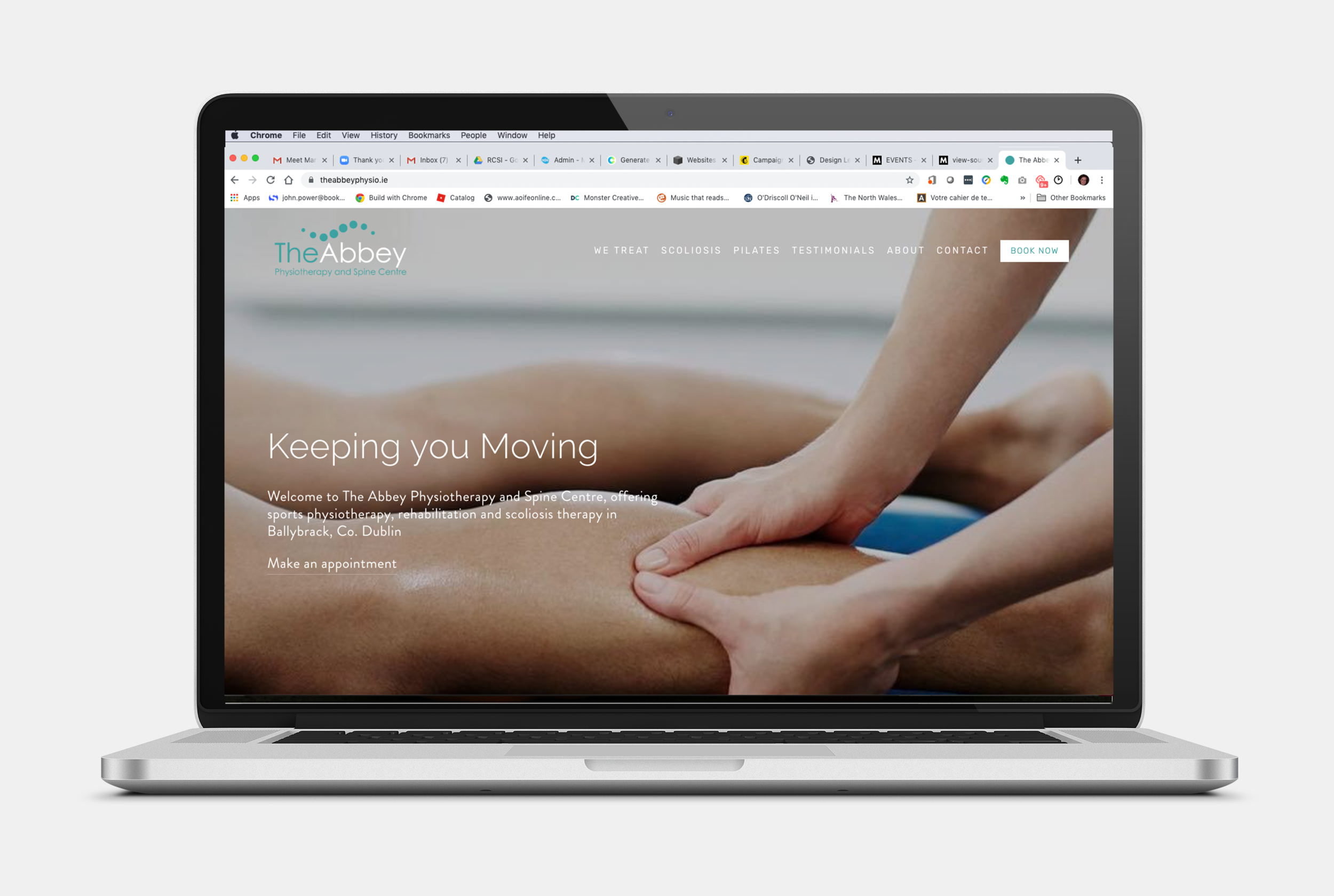 They Abbey Physiotherapy and Spine Clinic specialises in scoliosis detection, one to one Pilates sessions and general sports and injury physiotherapy. Founded by Chartered Physiotherapist Abigail Doyle, Abigail had already invested in some good branding and photography before she asked me to build her website. We integrated the Cliniko appointment scheduling app, so her site visitors can make an appointment straight from the website. Handy!