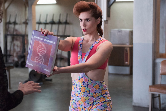 This floral outfit worn by Rhonda (Kate Nash)was a classic girl next door gym staple. If only gym wear these days were so cute, we would probable make an effort to go more.