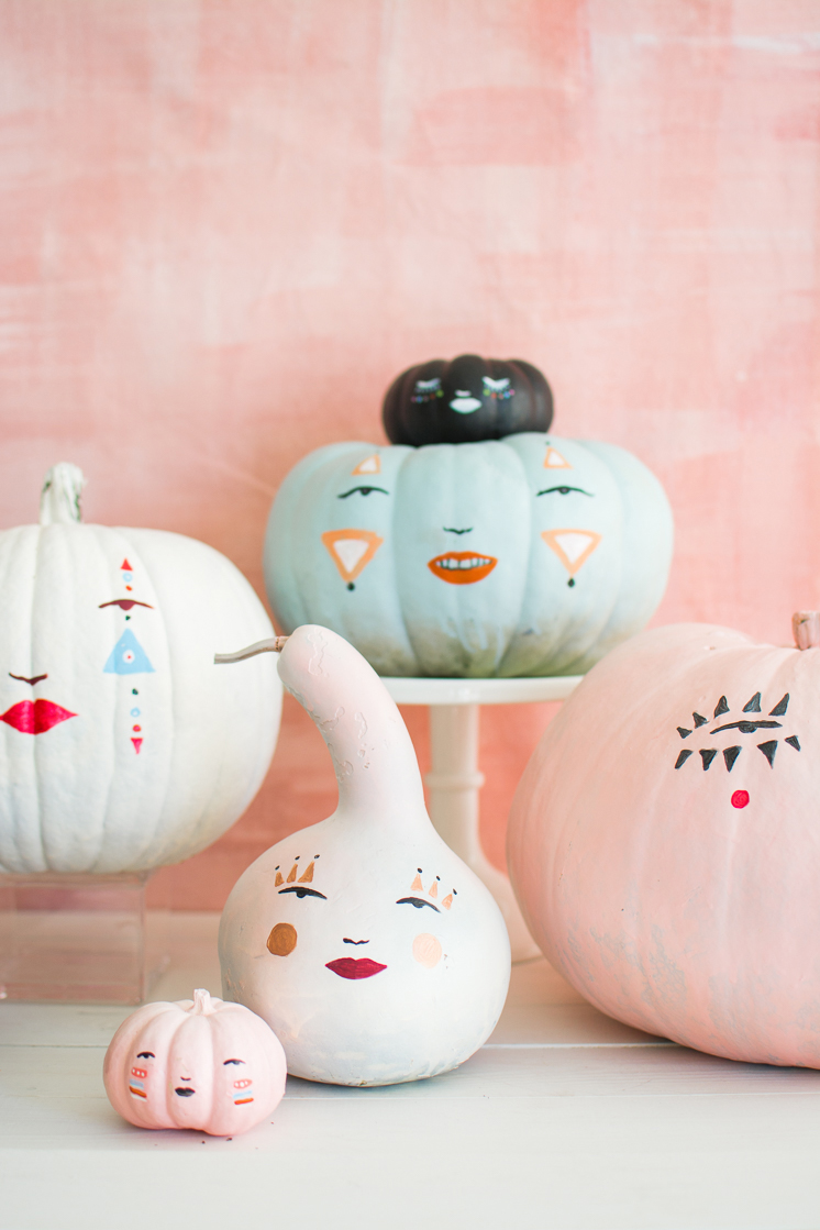 Pretty face painted pumpkins from  @thehousethatlarsbuilt