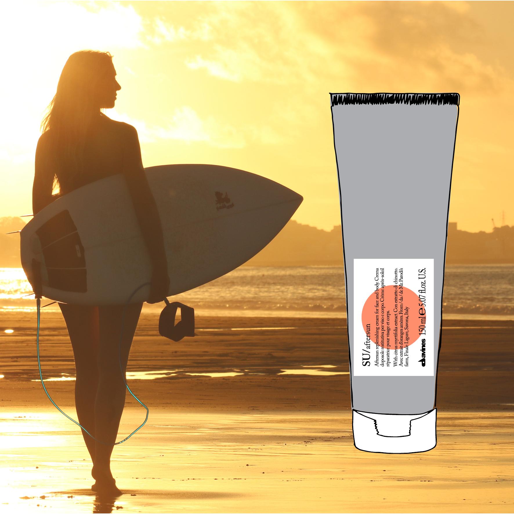 - SU/aftersunEn kjølende og pleiende gel-krem som oppfrisker og gir umiddelbar lindring til hud som har blitt solbrent.Påføres i ansiktet og på kroppen etter soleksponering.