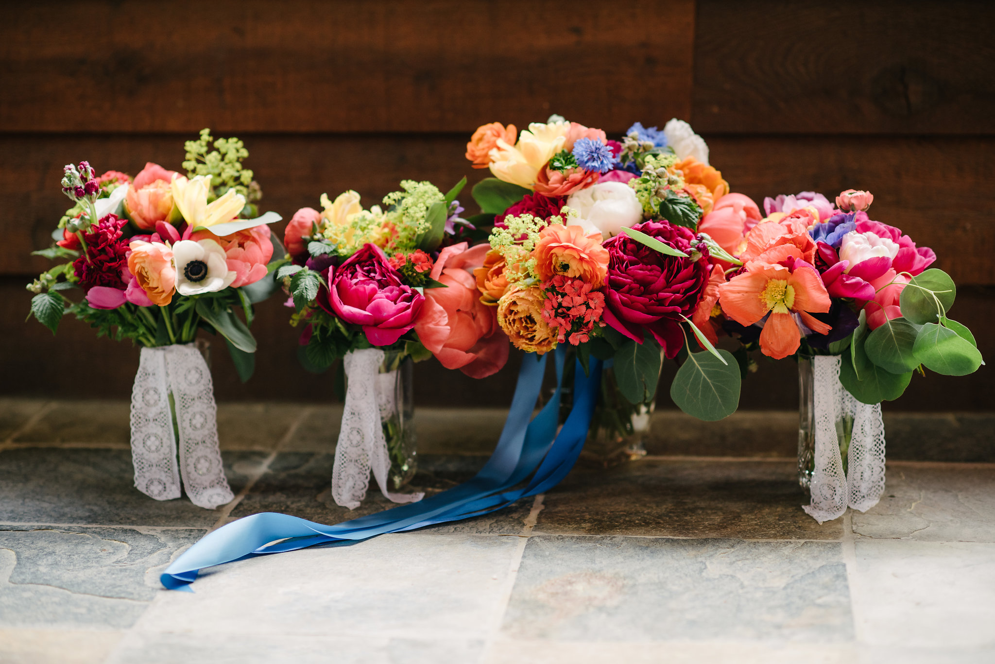 Brightly colored bouquets of farm flowers